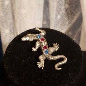 Jewelry - Pewter Lizard w/ Gems Pin